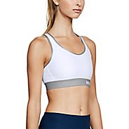 Womens Under Armour  Mid Keyhole Bras - White/Steel/Silver M