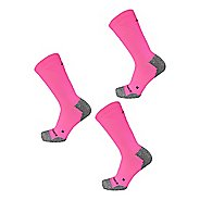 New Balance Cushioned Nylon Crew Running 3 Pair Socks - Pink L