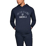 Mens Under Armour USA Fleece Pull Over Half-Zips and Hoodies Technical Tops