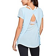 Womens Under Armour Whisperlight Foldover Short Sleeve Technical Tops