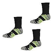 New Balance Short Crew Trail Running 3 Pair Socks - Black/Grey/Yellow XL