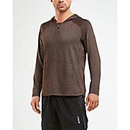 Mens 2XU XCTRL Henley Hoodie Long Sleeve Technical Tops