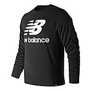 Mens New Balance Essentials Stacked Logo Crew Long Sleeve Technical Tops