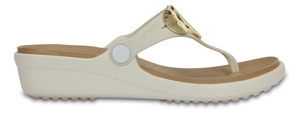 1c3bea9618aa Womens Crocs Sanrah Embellished Wedge Flip Sandals Shoe at Road Runner  Sports