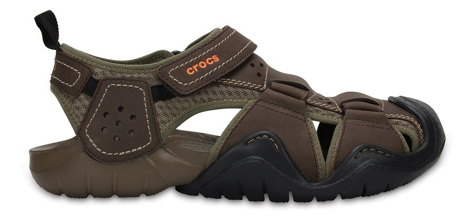 3b44dc1b87d5f Mens Croc Swiftwater Leather Fisherman Sandals Shoe at Road Runner Sports