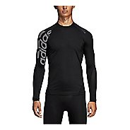 Mens Adidas Alphaskin Sport Badge of Sport Tee Long Sleeve Technical Tops