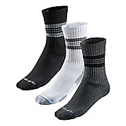 R-Gear Super Breathable Medium Cushion Striped Crew 3 pack Socks - Heather Grey/Black/White L
