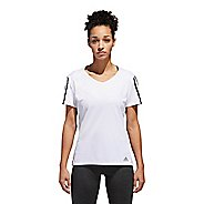 Womens Adidas Run 3 Stripe Tee Short Sleeve Technical Tops