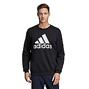 Mens Adidas Must Haves Badge of Sport Fleece Crew Long Sleeve Technical Tops