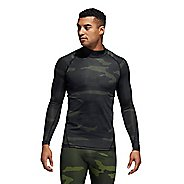 Mens Adidas Alphaskin Camo Moc Neck Long Sleeve Technical Tops