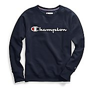 Womens Champion Plus Powerblend Graphic Crew Long Sleeve Technical Tops