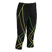 Womens CW-X Endurance Generator 3/4 Capri Tights - Black/Green XS