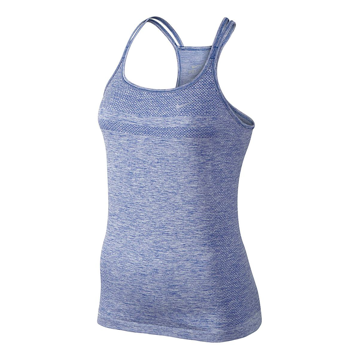 cheaper 554dd b51a6 Womens Nike Dri-Fit Knit Strappy Tanks Technical Top at Road Runner Sports