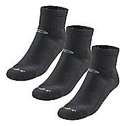 Road Runner Sports Super Breathable Medium Cushion Quarter 3 pack Socks - Black XL