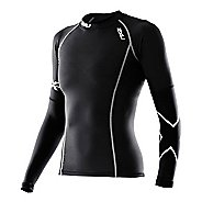 Womens 2XU Long Sleeve Thermal Compression Top Long Sleeve No Zip Technical Tops - Black/Black XL