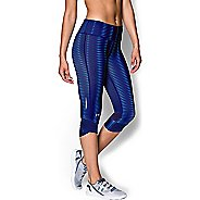Womens Under Armour Fly-By Printed Capri Tights - Europa Purple S