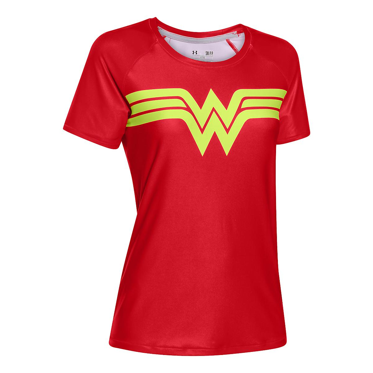 6ddc413df9b66 Womens Under Armour Alter Ego Heatgear Sonic Wonder Woman T Short Sleeve  Technical Tops at Road Runner Sports