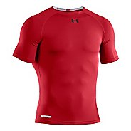 Mens Under Armour Heatgear Sonic Compression T Short Sleeve Technical Tops - Red/Black 3X