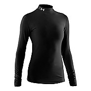 Womens Under Armour Coldgear Compression Mock Long Sleeve No Zip Technical Tops - Black/Silver XL